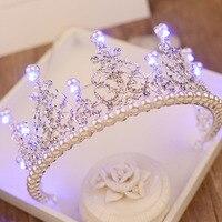 Тиара с жемчугом в европейском стиле 2018, королевская Королевская корона со стразами для женщин, украшения для волос, большие светодиодные к...
