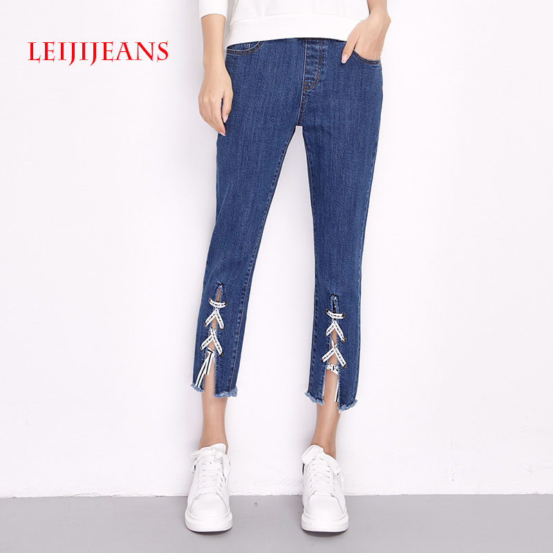 LEIJIJEANS Womens Mid Waist Front Bandage Stright Denim Jeans Trousers Embroidery Jeans Women Plus Size L-6XL Ankle-Length Pants 2017 leijijeans jeans women mid elastic dark blue plus size jeans with embroidery pants full length loose style straight fat mm