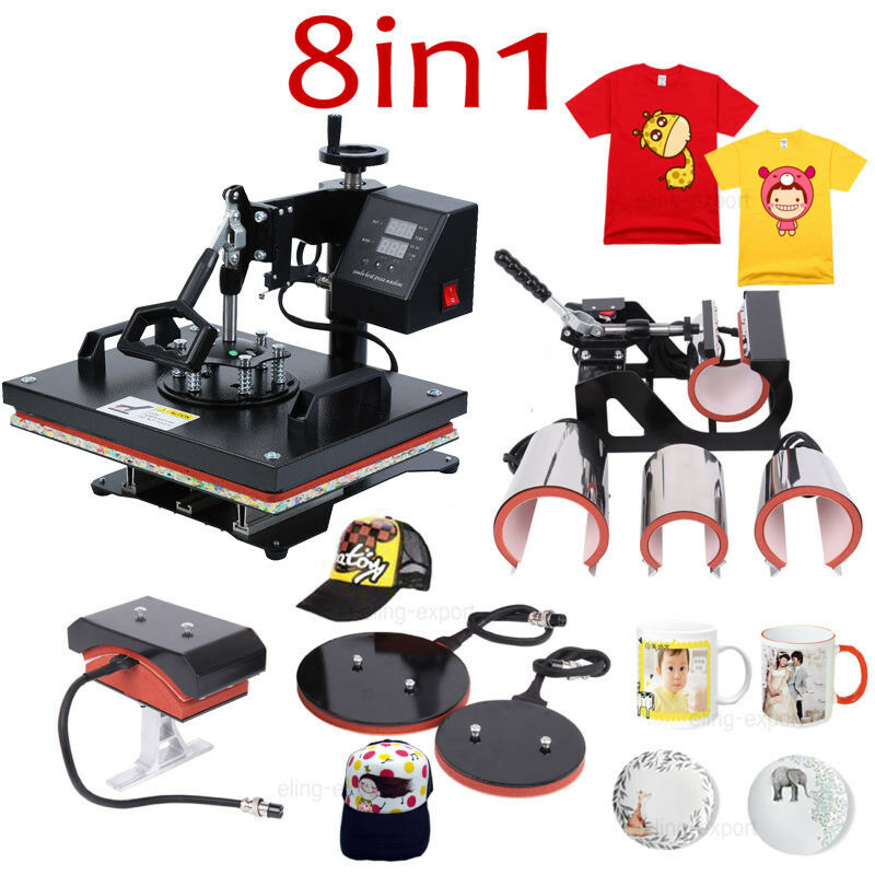 8 In 1 Combo Heat Press Machine Sublimation Print Heat Transfer Machine For Cap Mug Plate T-shirts 12X15 Inch