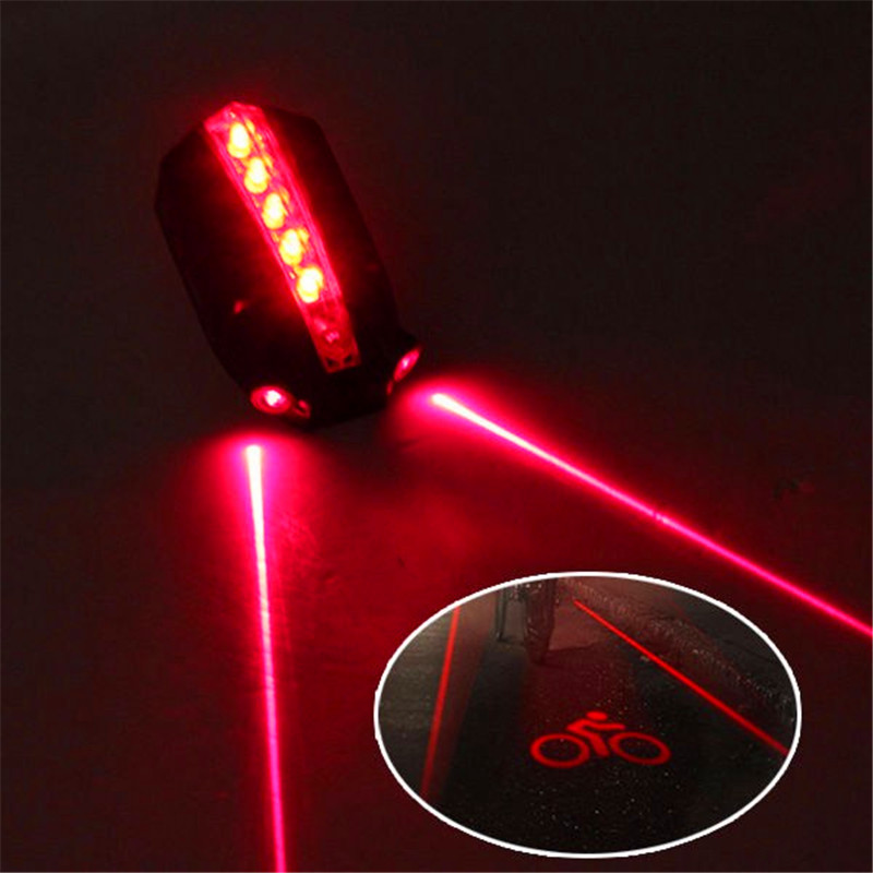 Outdoor&Sport 2 Laser+5 LED Rear Bike Bicycle Tail Light Beam Safety Warning Red Lamp  Wholesale For Dropshipping
