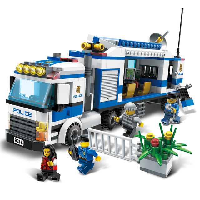 models building toy 9316 city police mobile police station unit 407pcs building blocks compatible with lego - Lgo City Police