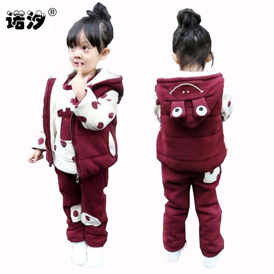 Children clothing girls spring winter 3 pcs/set cotton tops+pants+vest hooded Plus velvet suit clothes kids Jackets 1-9 Years iyeal fashion baby boys clothes set cotton long sleeve tops vest pants 3 pieces suit for kids boy children clothing 1 4 years