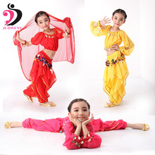 3 Colors Plus Size Indian Long Sleeves Kids Belly Dance Costume Hip Scarf with Sequin Bollywood Costumes Girls Isis Dancewear