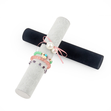 Купить с кэшбэком TONVIC Wholesale Black/Gray 5*30cm/5*36cm L Velvet Bracelet Display Holder Jewelry Headband Watch Organizer Shelf  Rack