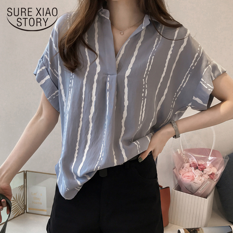 New 2018 Summer V Collar Stripe Printing Casual Women   Blouse     Shirt   Chiffon Short Sleeve Sexy Female Clothing Blusas Tops 0751 30