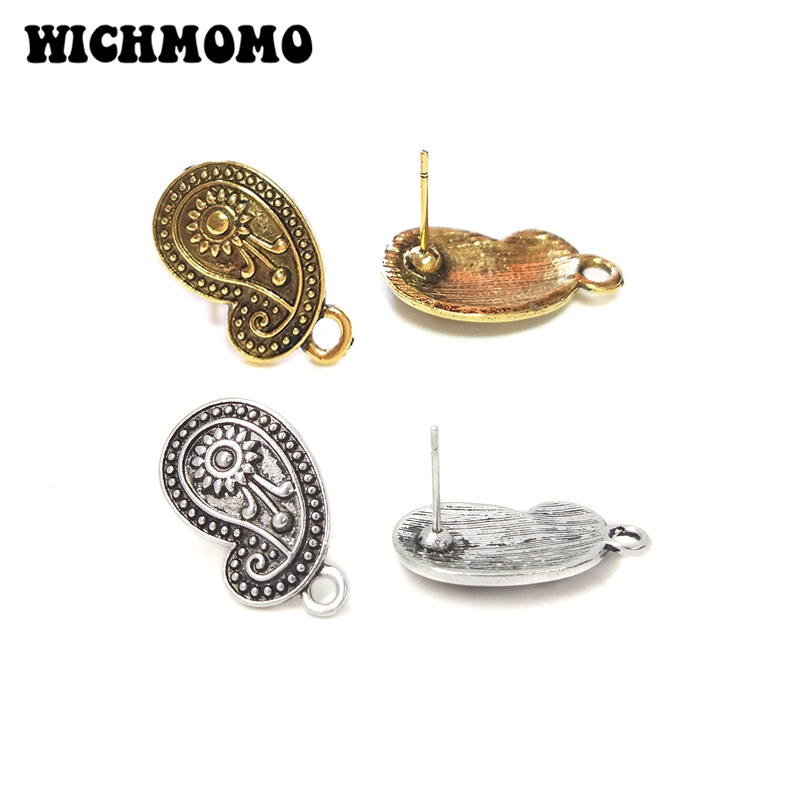 2019 New Fashion 22mm 8pieces/bag Retro Zinc Alloy Flowers Earring Base Connectors Linkers For DIY Earring Jewelry Accessories