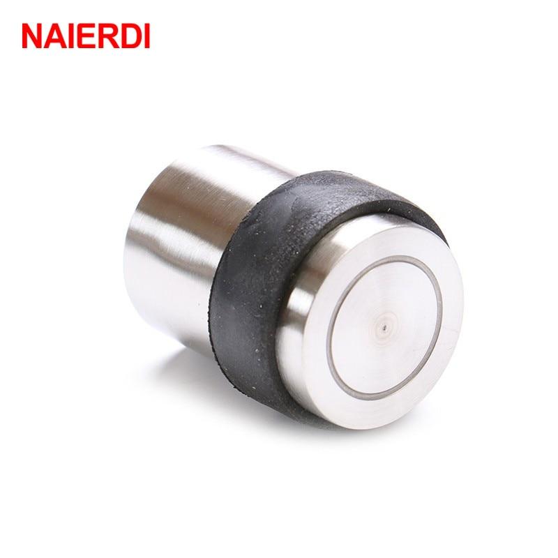 цена NAIERDI DFL Zinc Alloy Door Stopper Rubber Door Protect Holder Casting Floor-mounted Door Stops For Home Doors