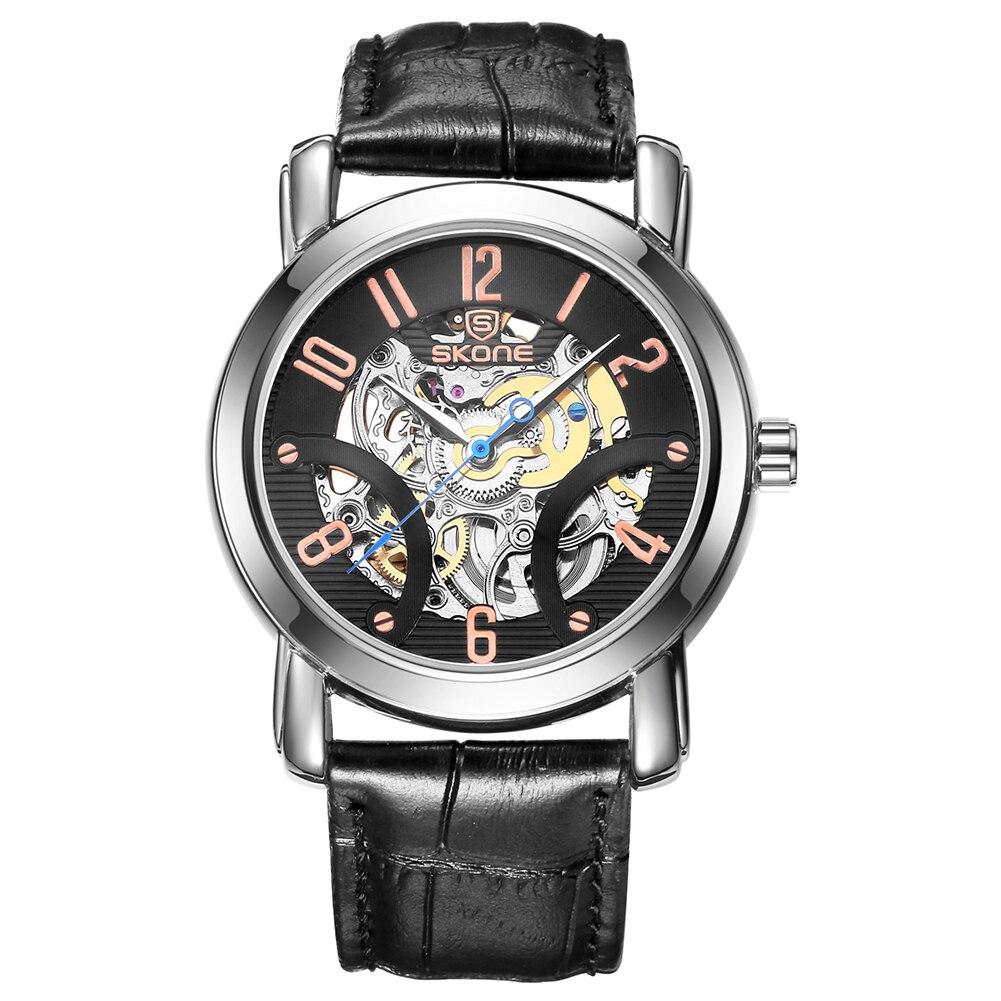 ФОТО SKONE Automatic Mechanical Watches Men TOP Luxury Genuine Leather Strap Casual Watch Waterproof Skeleton Watch relogio masculino