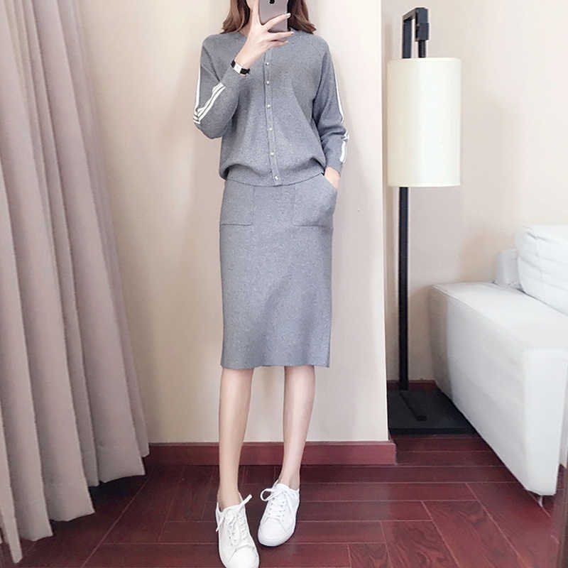 Runway Knitted Women Skirt Sets 2019 Autumn Winter Fashion 2 Piece Set Women Single breasted Knit Jacket And Split Skirts Suits