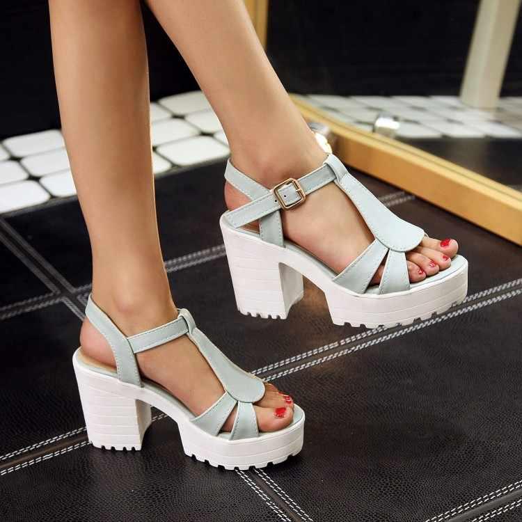 Tamanho grande sandálias de salto alto sapatos femininos mulher verão senhoras calcanhar áspero de fishmouth plataforma à prova dwaterproof água