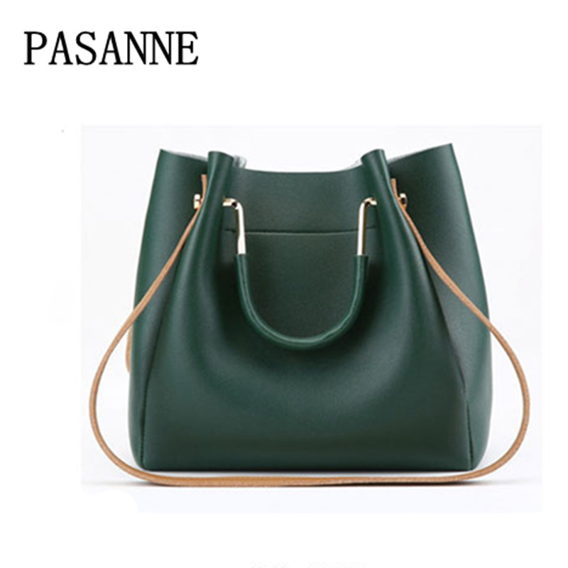 New Women Bag Handbag Leather Vintage PASANNE Brand Ladies Woman Handbags Girl Fashion Female Bags Crossbody