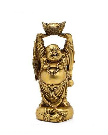 오프닝 라이트 구리 부의 신 maitreya 부처님 행운의 집들이 시작 비즈니스 그림 구두 모양의 골드 잉곳 장식 선물-에서피규어 & 미니어처부터 홈 & 가든 의  그룹 1