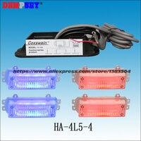 HA 4L5 4 High power red&blue Emergency 4W Warning Light,Police VehicleLED Strobe Warning Light,DC12VCar grill/4pcs head light