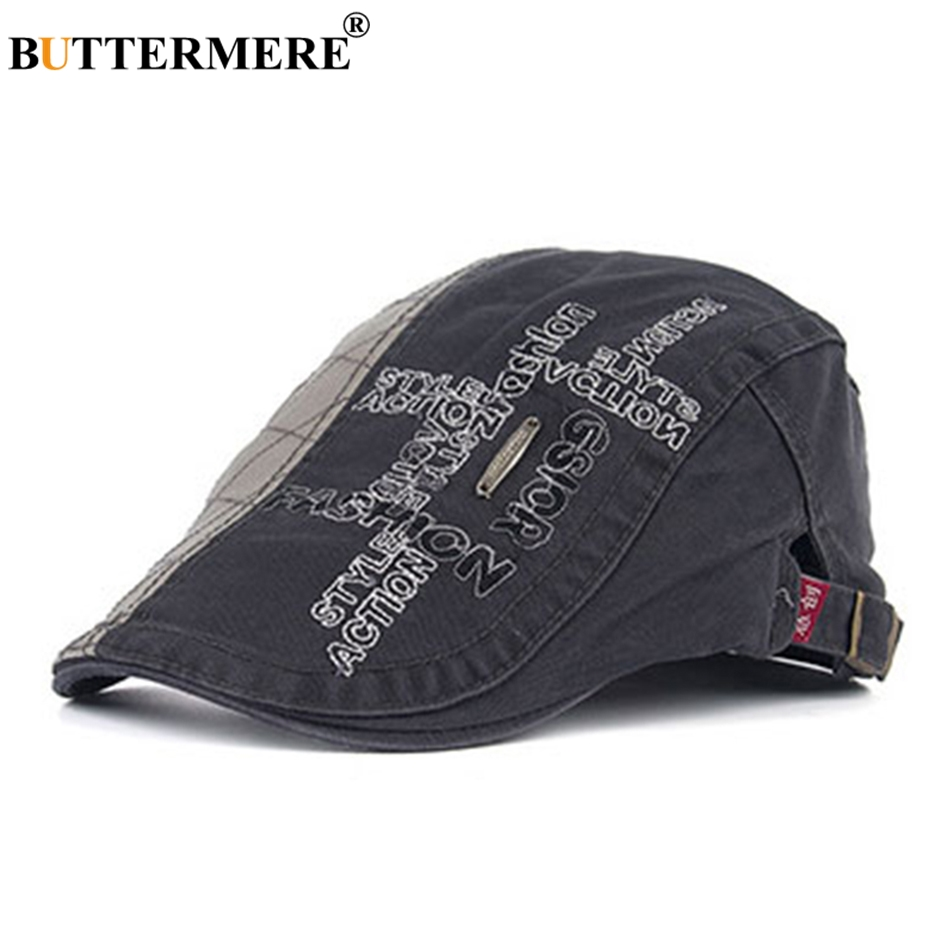 BUTTERMERE Flat-Caps Beret-Hats Embroidery Gatsby Male Fashion Cotton Summer Patchwork