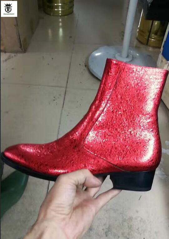 FR.LANCELOT 2019 New zip up Chelsea boots men real leather boots glitter sequin red Leather ankle botas high top party men bootsFR.LANCELOT 2019 New zip up Chelsea boots men real leather boots glitter sequin red Leather ankle botas high top party men boots