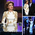 New Arabia Sexy Singer Myriam Fares Dresses Round Neck With Beaded Mermaid Floor Length Chiffon Evening Celebrity Dresses 2016