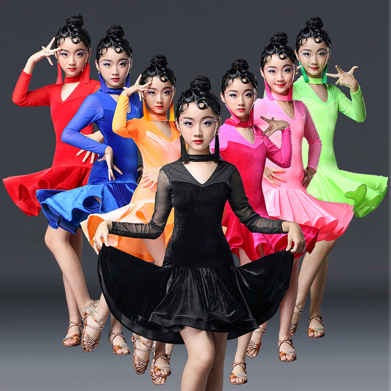 2019 Ballroom Dresses Girls Dress For Dance Kids Children Latin Dance Dresses Salsa Skirt Dancewear Latin Girls Rumba