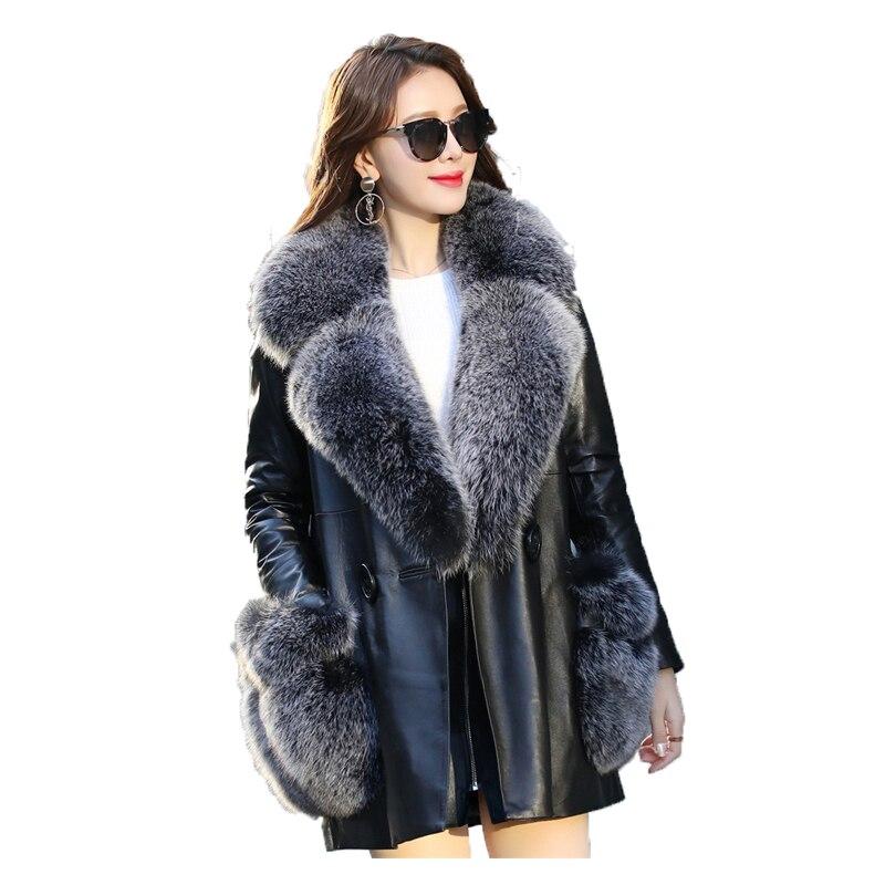 Doudoune Réel Veste Mouton Peau De En Mujer Black Slim Collor D'hiver Cuir Coréenne 2019 Renard Véritable Fit Fourrure Zt395 Manteau Femmes Abrigo dzvIqqwP