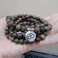 Nature Stone Yoga Healing Bracelet or Necklace Meditative 108 Mala Yoga Jewelry Dragon Bloodstone Bracelet