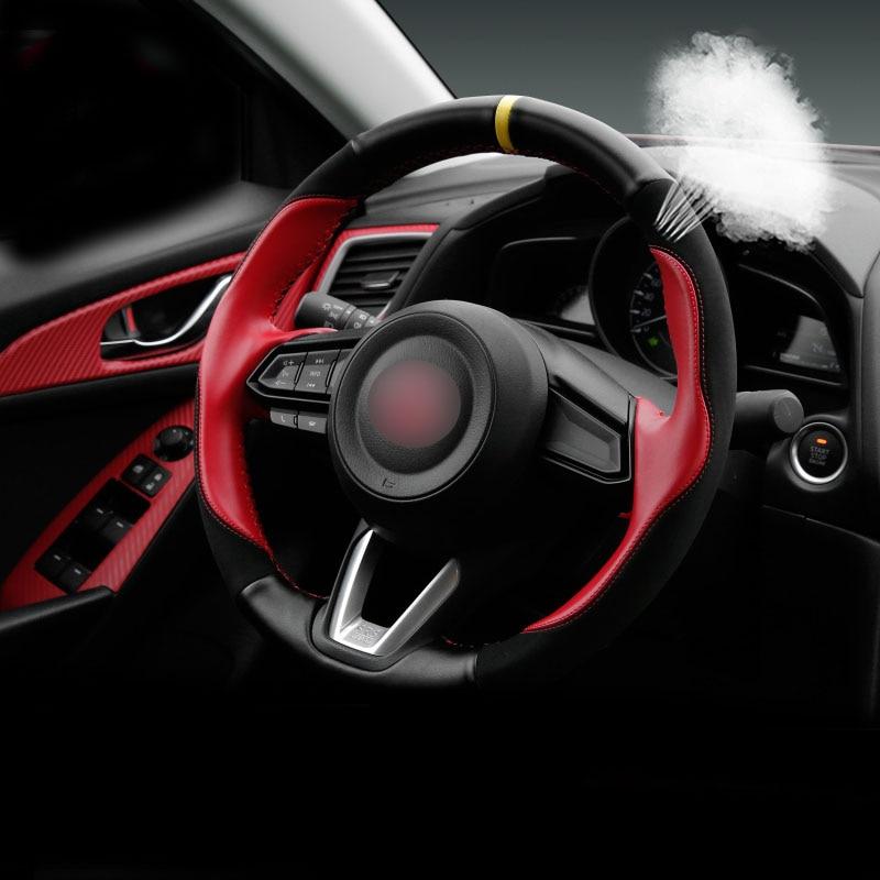 1pc for mazda CX 3 2018 Steering wheel cover Hand seams Genuine leather