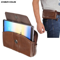 CHEZVOUS Genuine Leather Waist Packs Fanny Pack Belt Bag Phone Pouch Bags Travel Waist Pack Male Waist Bag Leather Pouch 6.0''