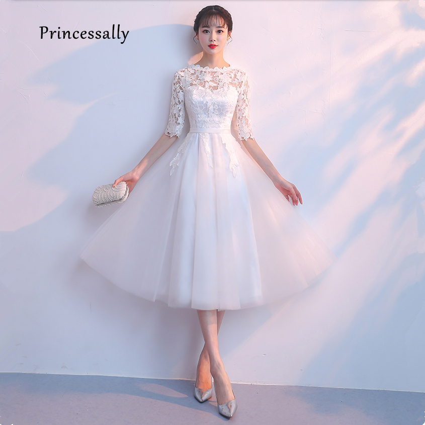 New Simple Wedding Gown Dresses Tea Length Lace Half