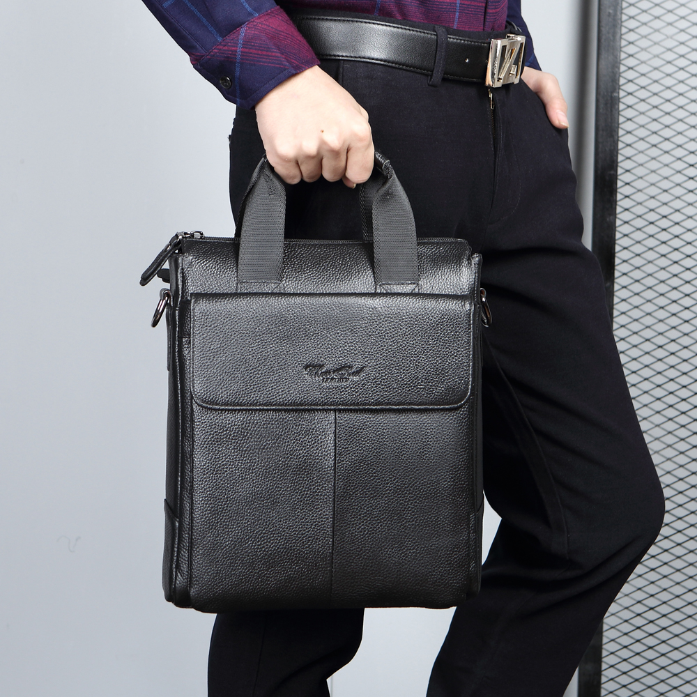 CHEER  SOUL Genuine Leather Men Business Briefcase Office Handbags Document Laptop Bags For Male Messenger Shoulder Bag Totes