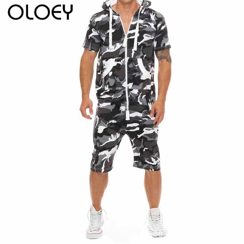 OLOEY Men Romper Black Camo Mens Sport Suits Cotton Zip Mens Sweat Suits One-piece Tracksuit Set Male Joggers Sporting Jumpsuits