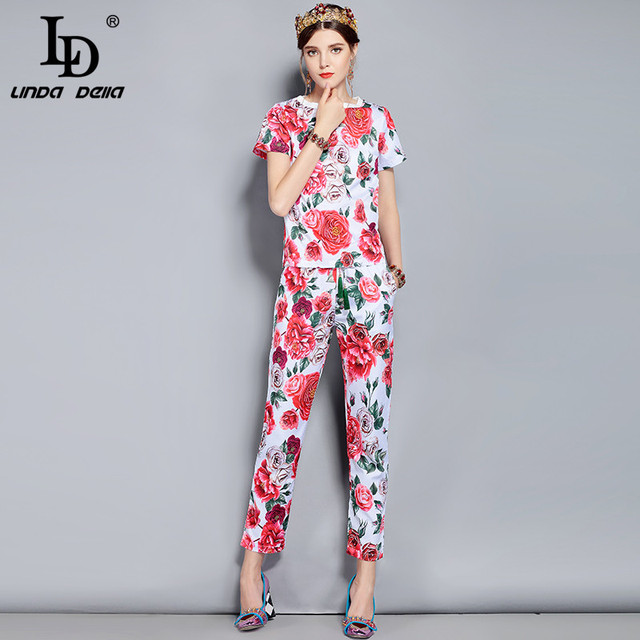 Summer Runway Designer Suits Women's Elegant Rose Floral Print Long Pants Set High Quality