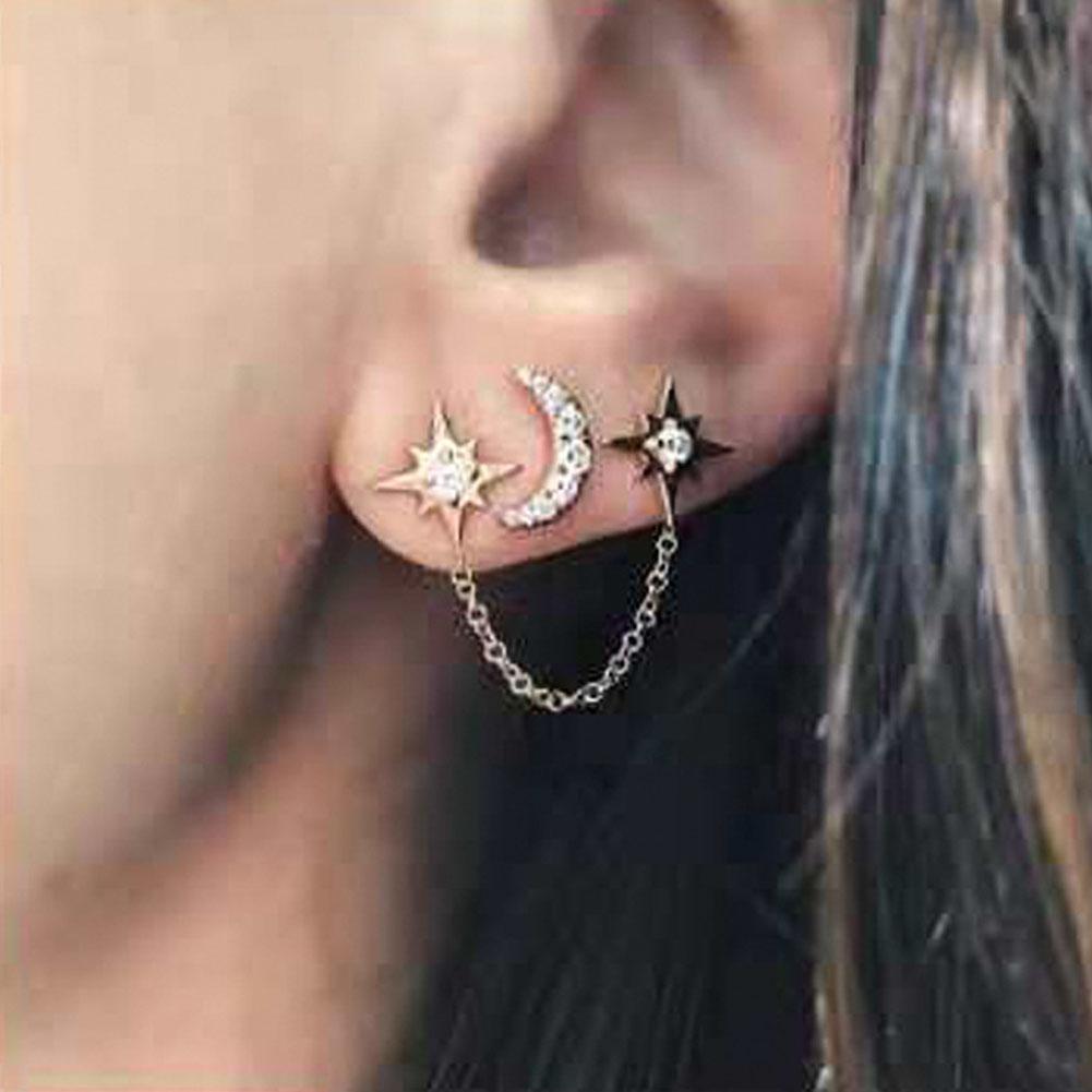 2Pcs/Set Rhinestone Moon Star Chain Stud Earrings 3 Ear Holes Silver Gold Colors Women Earring Set 2019 Party Jewelry mariposa en plata anillo
