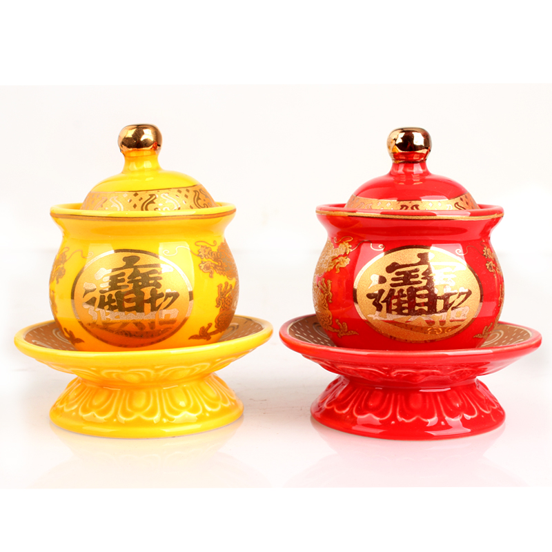 First Light Ancient <font><b>Sacred</b></font> Lotus Holy Water <font><b>Cup</b></font> Outline In Gold Empaistic Bright-coloured Pure Water <font><b>Cup</b></font> Buddhist Decoration
