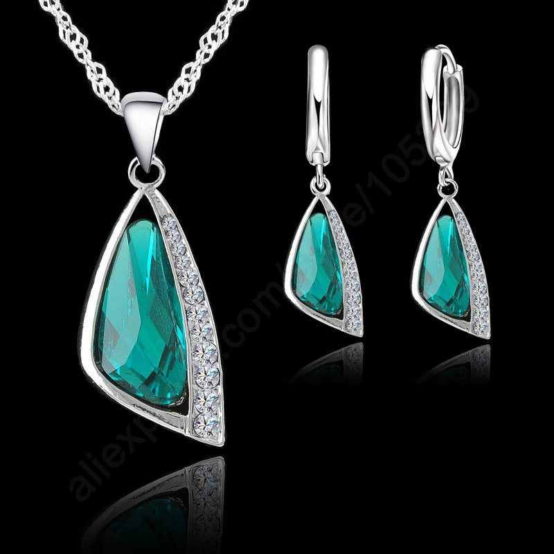 Hot Selling 925 Sterling Silver Women Wedding Jewelry Sets With Green Triangle Crystal Earrings Necklace Set Wedding Gifts