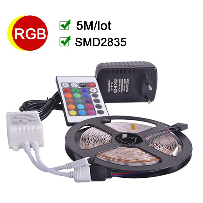 RGB LED Strip 5M 60Leds/m Flexible LED light 2835 SMD DC12V 2A Power Adapter IR Remote Controller Holiday Decor RGB LampsRGB LED Strip 5M 60Leds/m Flexible LED light 2835 SMD DC12V 2A Power Adapter IR Remote Controller Holiday Decor RGB Lamps