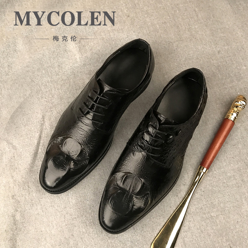 MYCOLEN Crocodile Pattern Men Luxury Dress Shoes Men Business Leisure Shoes Formal Genuine Leather Men Shoes Zapatos De Vestir mycolen luxury designer genuine leather business comfortable dress men shoes brogue classic mens shoes casual zapatos de vestir
