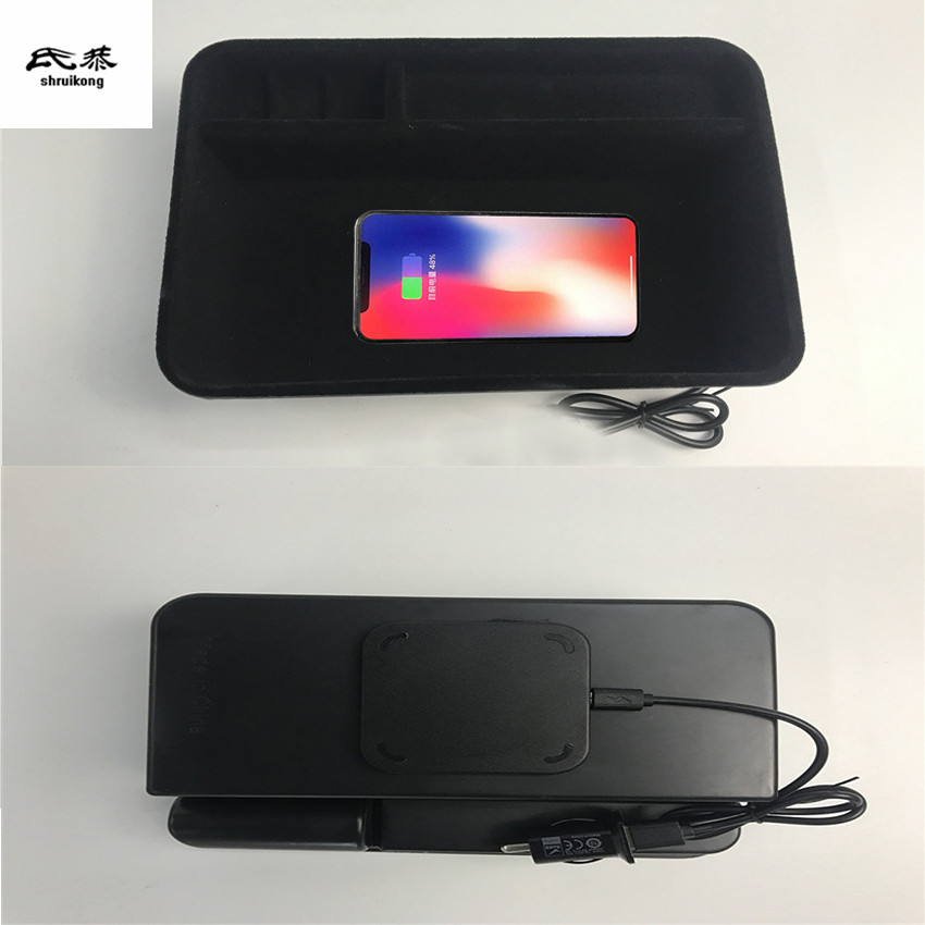 1lot Mobile phone wireless charging Central Armrest storage box for 2016 2017 2018 Nissan Patrol Y62 цена