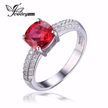 JewelryPalace Cushion 2.6ct Created Red Ruby Solitaire Engagement Ring For Women Genuine 925 Sterling Silver Jewelry Fine Ring