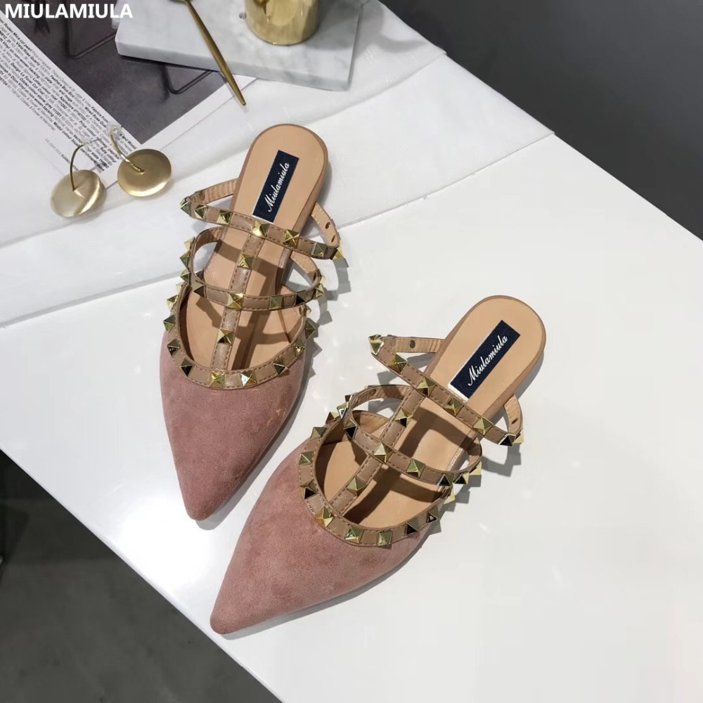 MIULAMIULA Brand Designers 2018 Fashion Luxury Rivet T-strap Woman Pointed Shoes Flat Suede Slides Slip On Loafers Mules 35-40 miulamiula brand designers 2018 fashion rabbit hair woman flat slides lady shoes furry slippers slip on loafers mules flip flops