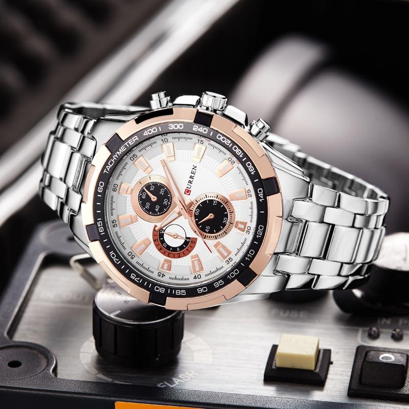 Original Curren New Brand Men Watches Casual & Sport Life Water Resistant Mens Business Quartz Steel Strap Wristwatches