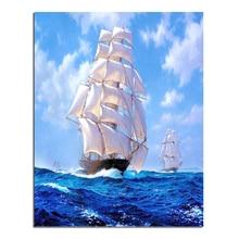 Blue sea Segel 35×45 Neue Full Area Highlight Diamant Hand Diy Diamant Malerei Kit 3D Diamant-kreuzstich-stickerei