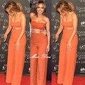 2016 NOVO! mulheres orange calças perna larga cintura alta festa casual duas peças conjunto de calças soltas calças compridas envoltório top bustier por atacado