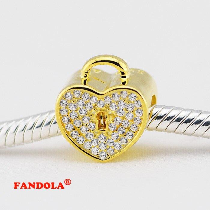 Подходит для Pandora Талисманы Браслеты стерлингов 14 К настоящее золото замок любви Бусины с кубического циркония Бесплатная доставка