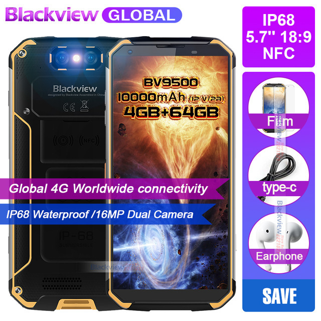 """Blackview BV9500 10000mAh IP68 Waterproof 16MP Camera NFC Wireless charger 5.7""""18:9 4G global Smartphone 64G MT6763T Android 8.1"""