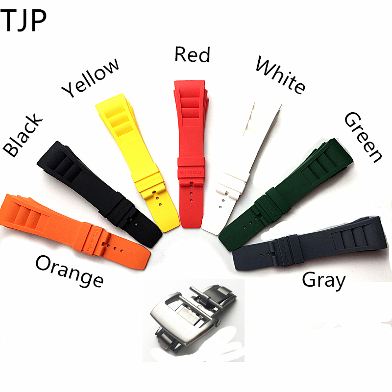 TJP Brands 20mm Red White Black Waterproof Natural Rubber Watchband Watch Strap Replace Richard And Mille Bracelet wristband все цены