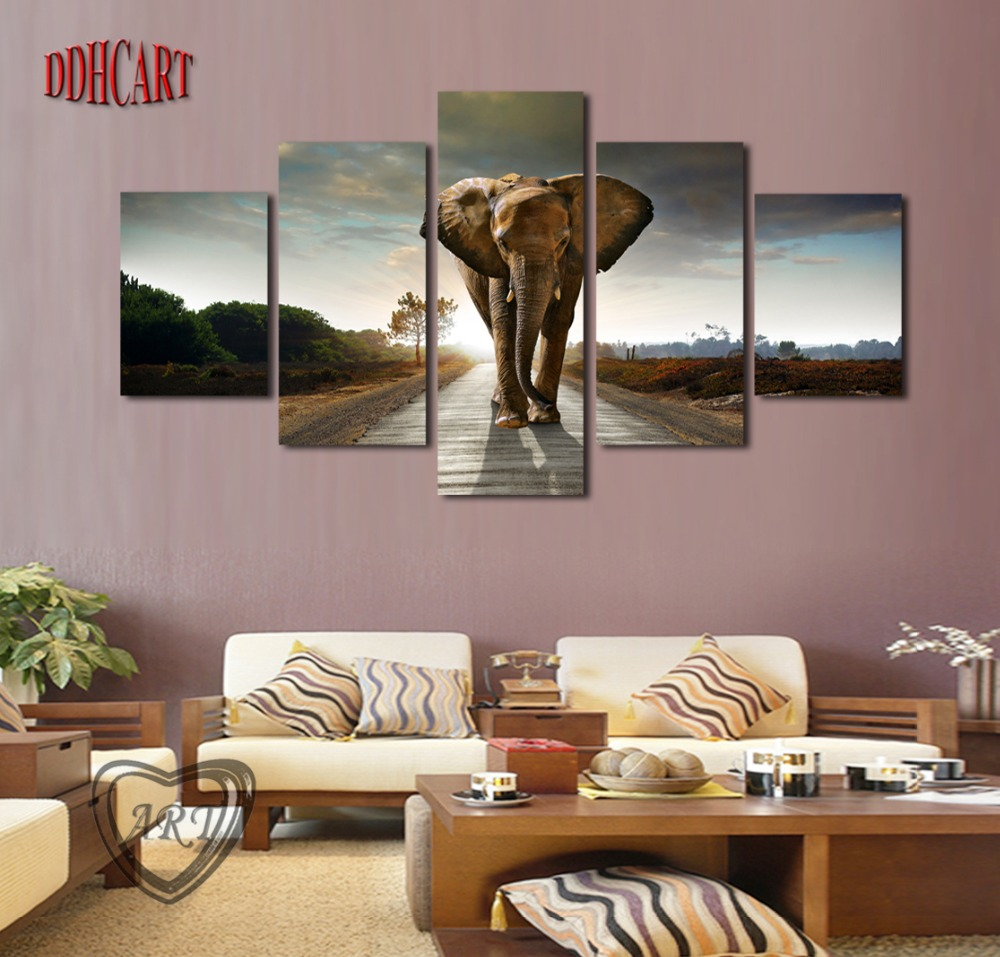 Aliexpress.com : Buy 5 Piece Canvas Art Wall Art Prints Painting Elephant  Picture Canvas Home Decor Poster Modern Artwork For Living Room Decoration  From ...