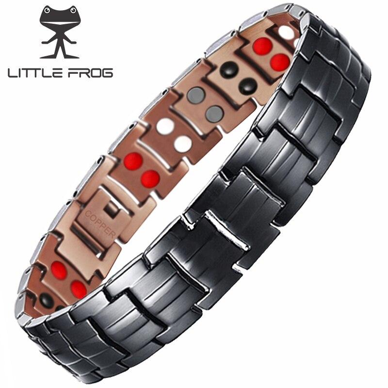 KLEINER FROSCH 99.95% Reinem Kupfer Magnetische Armband für Männer Zweireihig 4 IN 1 Schwarz Gun Magnet Gesunde Energie Armbänder & armreifen