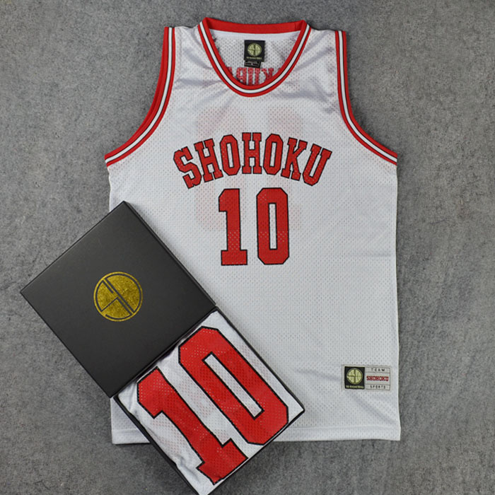 SLAM DUNK Cosplay Costumes Shohoku NO1-15 Sakuragi Hanamichi School Basketball Team Jersey Tops Shirt Sports Wear Uniform White