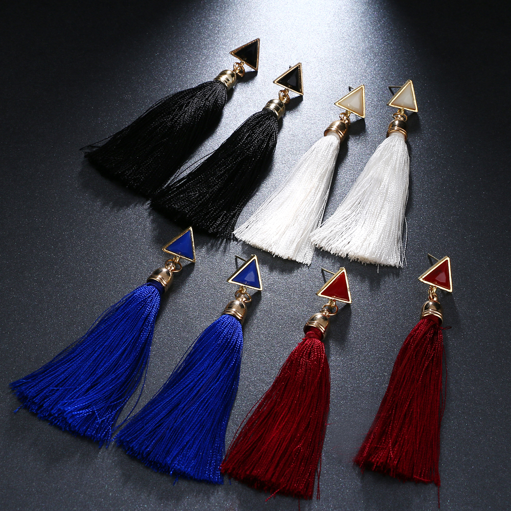 KISSWIFE New Arrival Ethnic Style Triangle Long Fringed Rope Earrings New Trendy Suit Bridle Wedding Jewelry Accessories