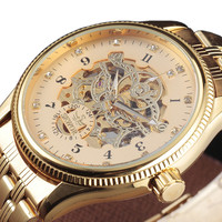 SEWOR Watches Men Mechanical Skeleton Wristwatches Fashion Casual Automatic Automatic Self Wind Gold Steel Band Big Case