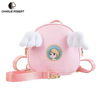 Cute Cartoon Angle Wings Women Lady Funny Mini Backpack Japanese Style Casual 2019 New Spring Black & Pink Appliques Backpack