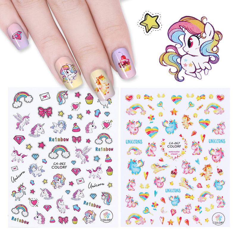 Nail Art Stickers: 2 Sheets 3D Nail Sticker Colorful Rainbow Star Heart